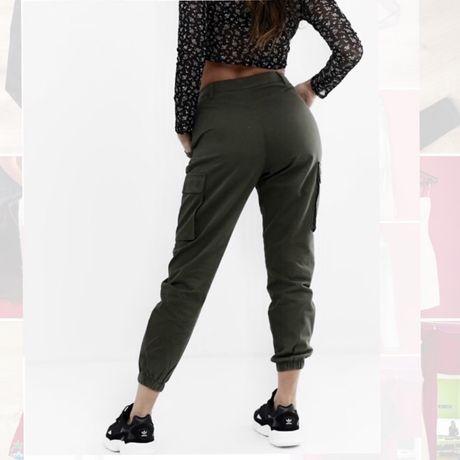 Spodnie bojówki khaki H&M ściągacze hit must have modne