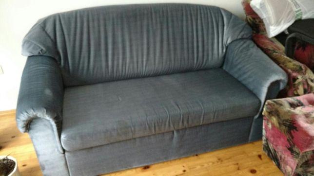 kanapa rozkładana dwuosobowa i fotel niebieska