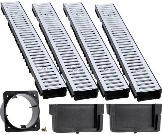 ODWODNIENIE LINIOWE x4 Kanał Ocynk 1M + 2 Zaślepki Odpływ 110mm