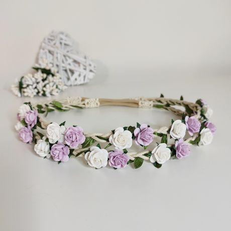 Wianek biało fioletowy