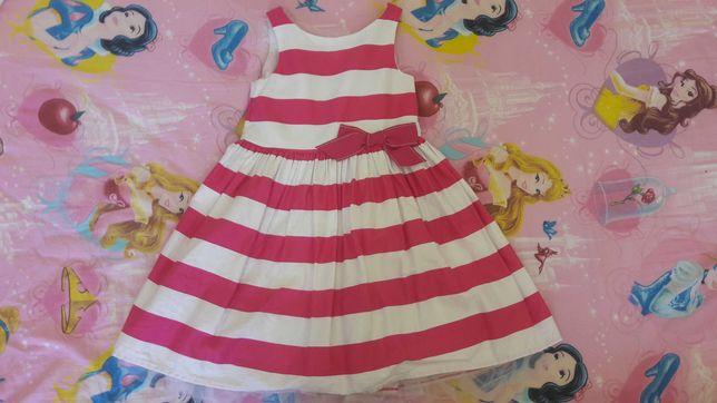Sukienka NEXT 110cm 5 lat w różowo białe pasy z podszewką