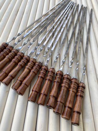Шампур плоский, с деревянной ручкой из нержавейки 750*3*12 мм