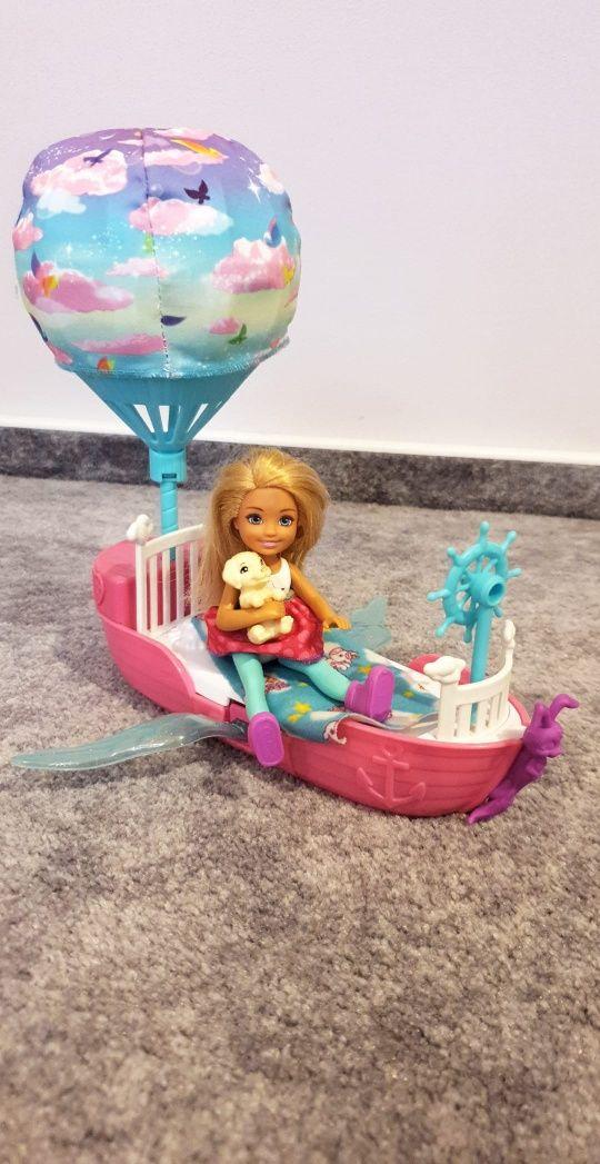 BARBIE lalka Chelsea z pieskiem i magiczna łódka