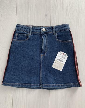 Джинсовая юбка Zara с лампасами для красотки