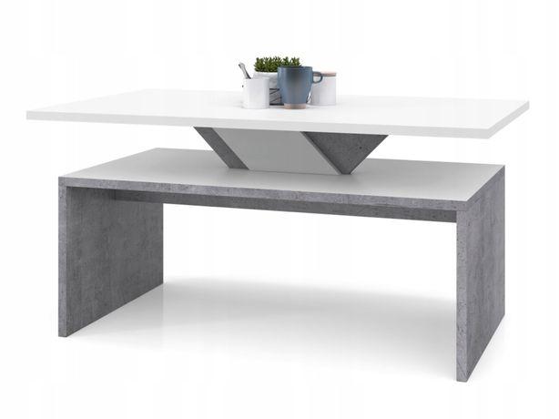 Nowoczesna ława biała beton stolik szary kawowy nocny
