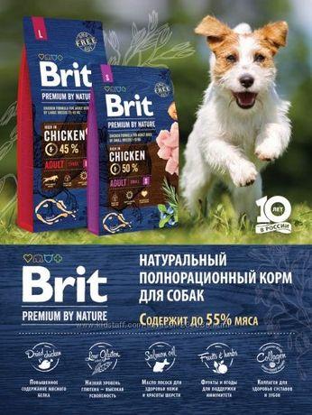 Корма Brit Premium Dog Adult Junior S/M/L, корм брит премиум для собак