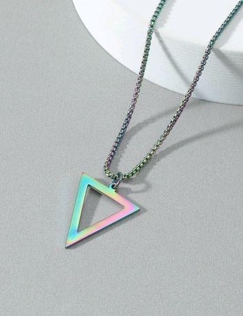 Colar triângulo aço masculino