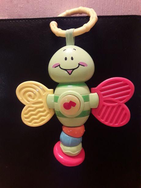 Бабочка- Яркая музыкальная погремушка с прорезывателями .