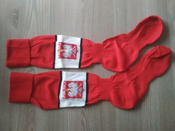 Podkolanówki skarpety piłkarskie dziecięce Polska biało-czerwone