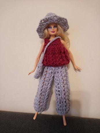 Ubranko na lalki barbie zestaw spodnie bluzeczka kapelusz i torebka