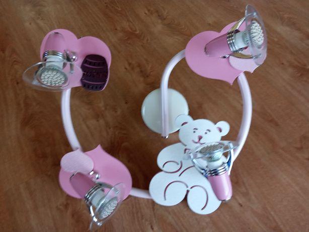 Lampa sufitowa Honey różowa spirala z misiem