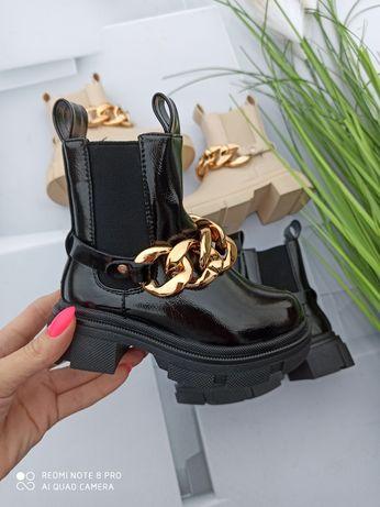 Buty kozaczki dla dziewczynki botki z łańcuchem 25,26,27,28,29,30