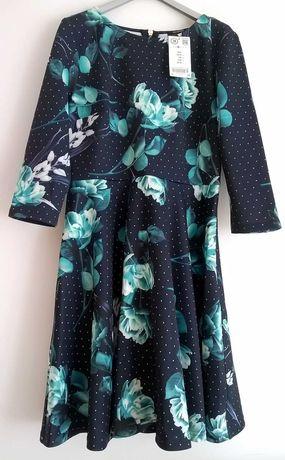 Sukienka rozkloszowana w kwiaty r.38 Orsay