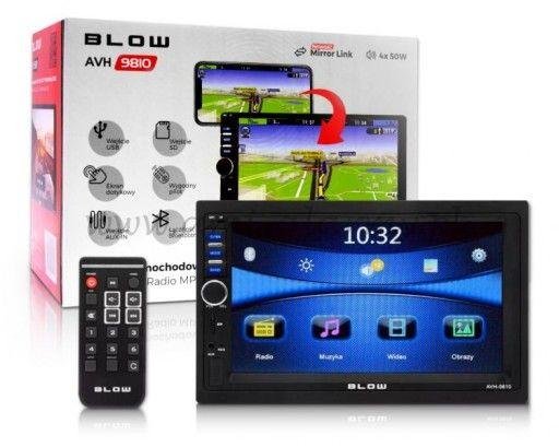 """Radio BLOW AVH-9810 2DIN 7"""" MIRROR LINK Nowe Gwarancja 24 M-C"""