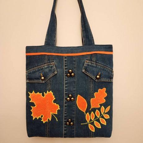 Torebka torba jeansowa dżinsowa XXL (handmade upcykling)