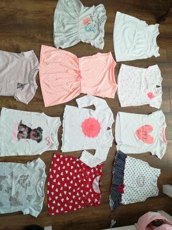 Zestaw ubrań paka dla dziewczynki r 86 koszulki letnie z krótkim