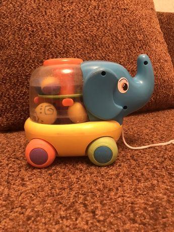Слон слоник каталка каталочка на веревке слоненок детская игрушка