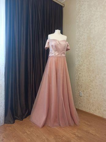 Вечернее платье пудра, платье женское нарядное M-L 50 размер