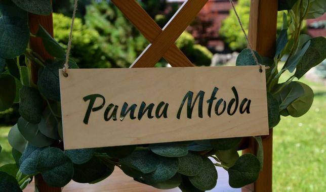 Drewniane, rustykalne, boho tabliczki ślubne na krzesła Młodej Par