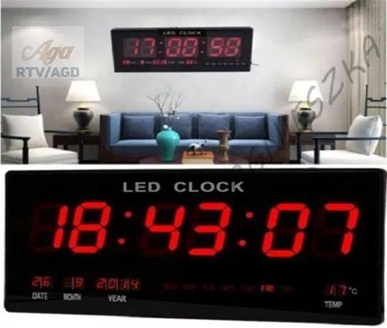 Zegar Ścienny LCD Led Temperatura Data Alarm 46x22x2.7 Cm Czerwone Led
