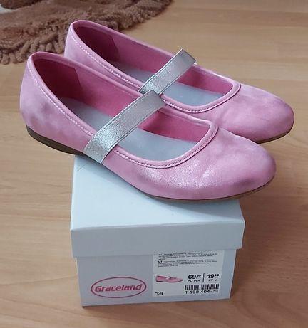 Różowe opalizujące baleriny - półbuty r.36 firmy Graceland