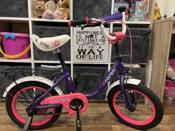 детский велосипед 14' для девочки