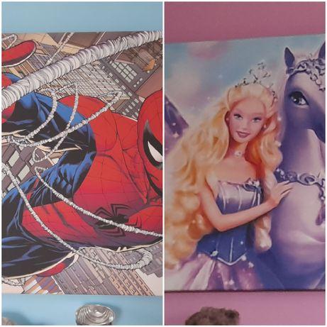 Obrazy do pokoju dziecięcego Spiderman, Barbie