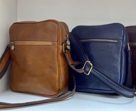 Рыжая мужская сумка Синяя мужская кожаная сумка Мессенджер Кооссбоди