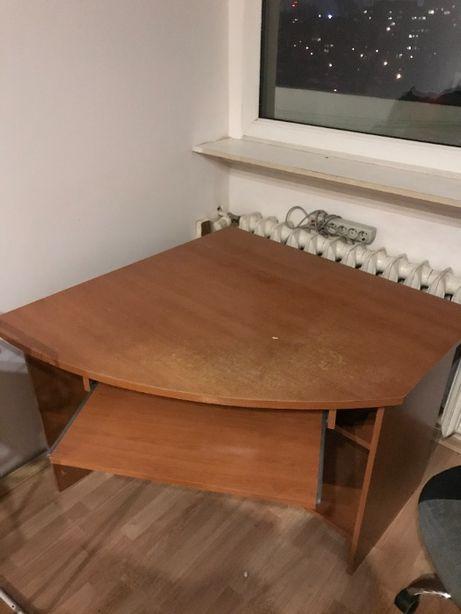 duże biurko narożne z szufladą na klawiaturę