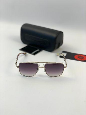 Очки солнцезащитные оправа синяя линза полароид Chrome Hearts g192