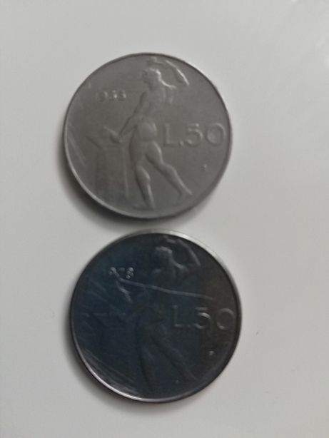 Stare pieniadze. Włoskie 50 lir z 1955 i 1978