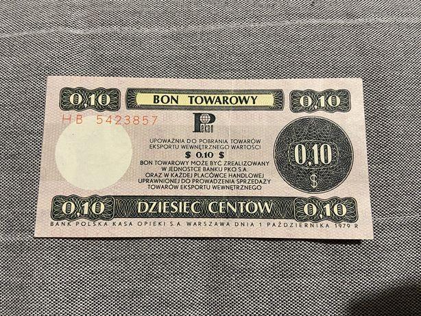 Bon towarowy 10 centow z 1979 roku