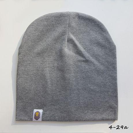 Серая шапка демисезонная, трикотажная, бини, лопата серая
