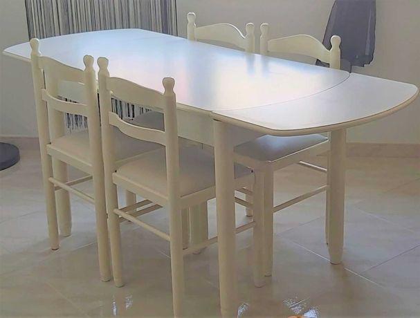 Mesa extensível madeira lacada c/ 4 cadeiras