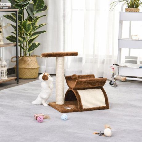 Drapak dla kota NOWY z legowiskiem i zabawkami Brązowy