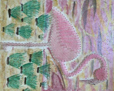 картина ФЛАМІНГО з ниток і цвяхів стрінг арт
