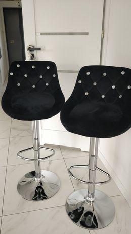 Hoker siedzisko barowe czarne kryształki pikowane  glamour