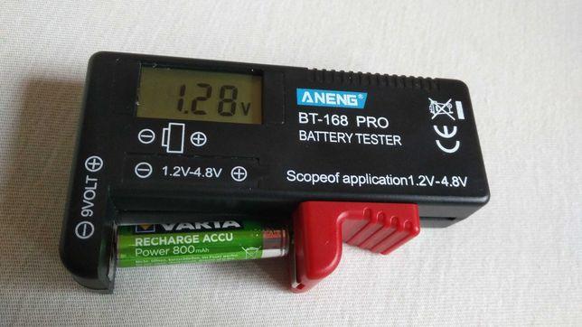 Tester akumulatorków AA, AAA, baterii R-3, R-6,  miernik akumulatorów.