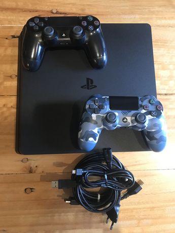 PS4 slim 1TB com 2 comandos + 12 jogos