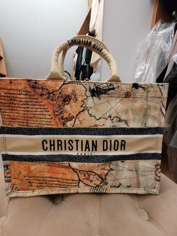 Torba shopper Dior mapa odcienie beżu/orange do miasta i na plażę