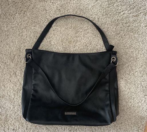 TAMARIS duża skórzana torebka czarna torba damska