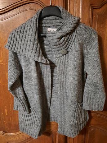 WYSYŁKA 5ZŁ Kardigan sweter szary S/38 j. nowy