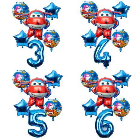 Набор 6шт.шариков Super Wings 3d на День рожденья Супер Крылья, Джетт