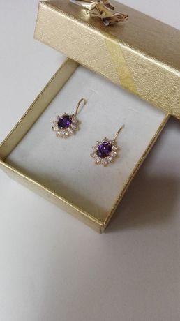 Piękne kolczyki z fioletowym kamieniem, próba 585