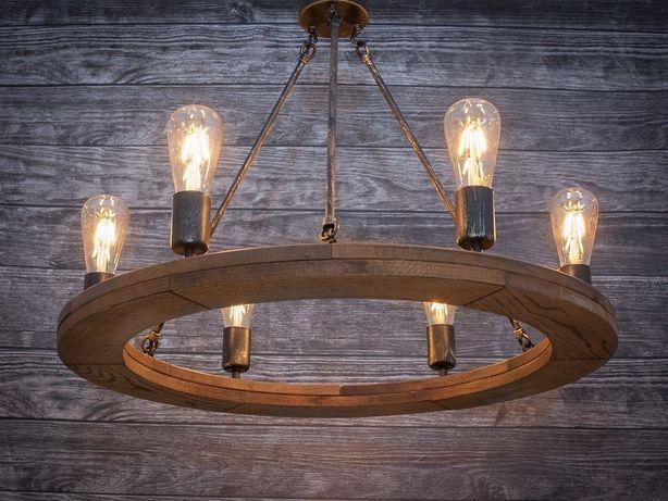Żyrandol rustykalny 70 cm drewniany fazowany lampa koło