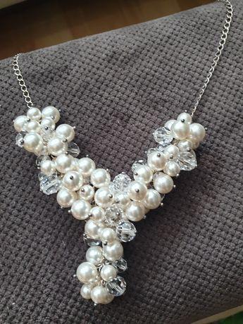 Kolia kamienie swarovski z perłami