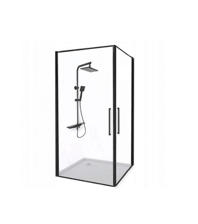 Kabina Prysznicowa Narożna Uchylna Czarne Okucie Abra 80x100 Rea