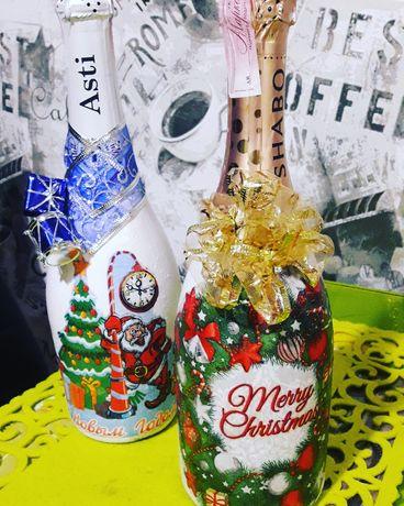 декор бутылок на праздник