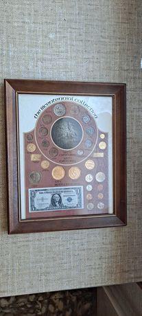 Kolekcja Dwustulecia w drewnianej ramie dolar cent usa