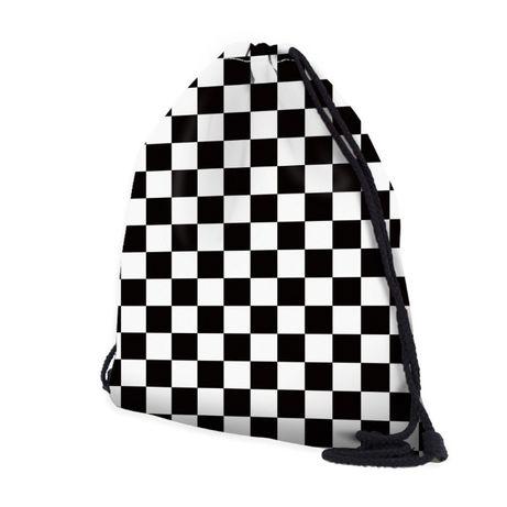 SZACHOWNICA torba ze sznurkiem czarno-biały WOREK szachownica plecak